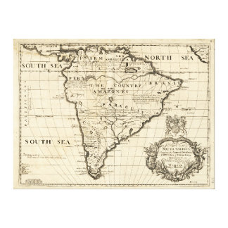 Map of South America by Benjamin Cole (1722) Canvas Print