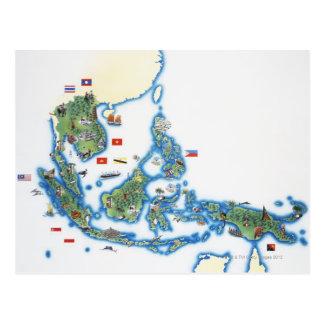 Map of southeastern Asia Postcard