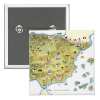 Map of Spain and Portugal 15 Cm Square Badge