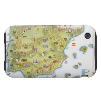Map of Spain and Portugal iPhone 3 Tough Cases