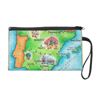 Map of Spain Wristlet Clutch