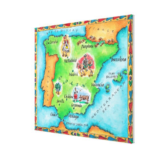Map of Spain Canvas Prints