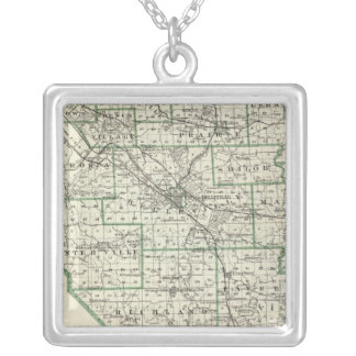 Map of St Clair County, Lebanon and Carlyle Silver Plated Necklace