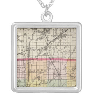 Map of St Joseph County, Michigan Silver Plated Necklace