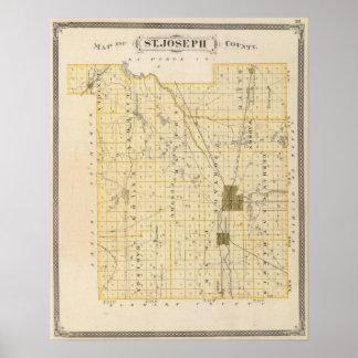 Map of St Joseph County Print