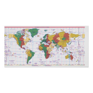 Map of Standard Times Zones of the World Print