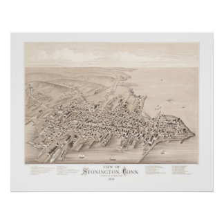 Map of Stonington, Connecticut in 1879 Poster