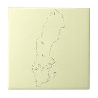 Map of Sweden Outline Tile