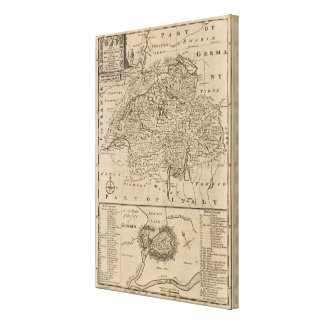 Map of Switzerland Stretched Canvas Prints