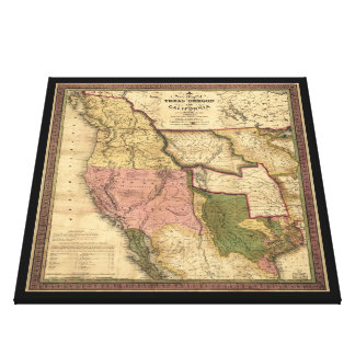 Map of Texas Oregon and California (1846) Canvas Print