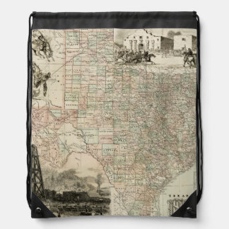 Map of Texas with County Borders Drawstring Bags