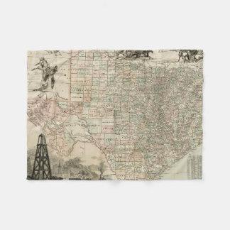 Map of Texas with County Borders Fleece Blanket