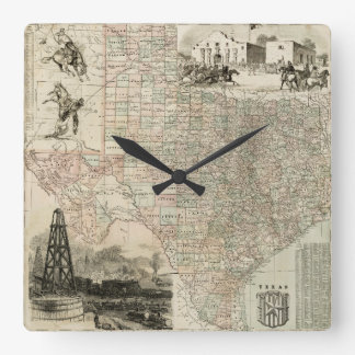 Map of Texas with County Borders Square Wall Clock