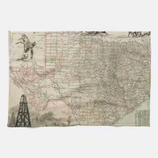 Map of Texas with County Borders Tea Towel
