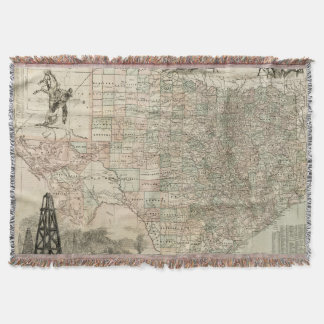 Map of Texas with County Borders Throw Blanket