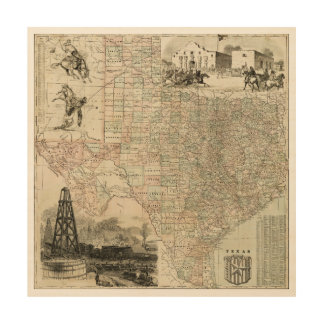 Map of Texas with County Borders Wood Wall Art