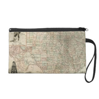 Map of Texas with County Borders Wristlet Purses