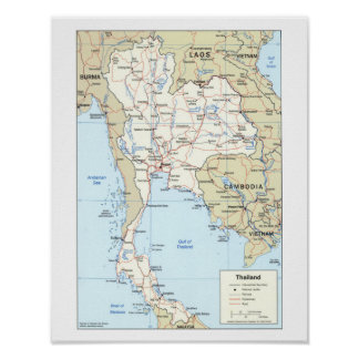 Map of Thailand Poster