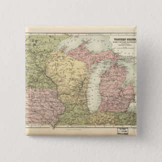 Map of the American MidWest (1873) 15 Cm Square Badge