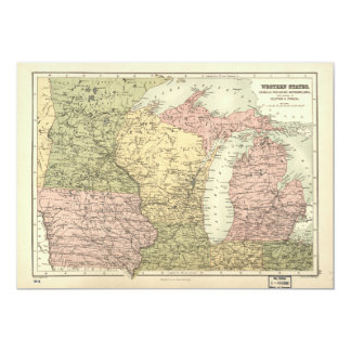 Map of the American MidWest (1873) Card