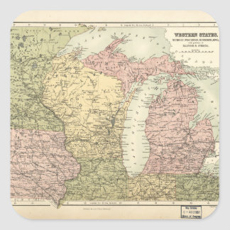 Map of the American MidWest (1873) Square Sticker