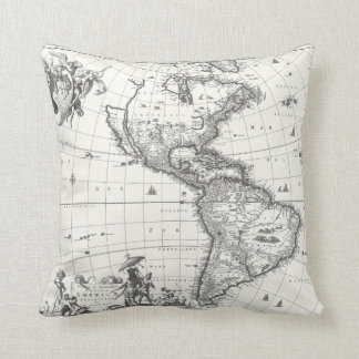 Map of The Americas 1669 Pillow
