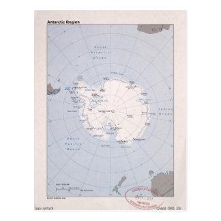 Map of the Antarctic Region (1982) Postcard