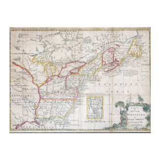 Map of the British Dominions in 1763 Stretched Canvas Prints