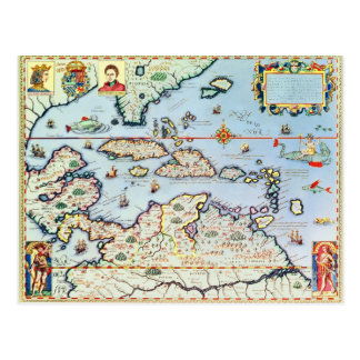 Map of the Caribbean islands Postcard