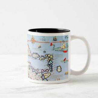 Map of the Caribbean islands Two-Tone Coffee Mug