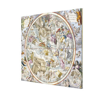 Map of the Christian Constellations as Depicted by Canvas Print