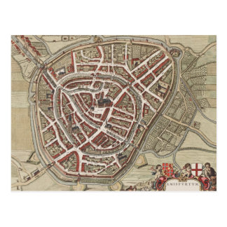 Map of the city of Amersfoort,  from 1650 Postcard