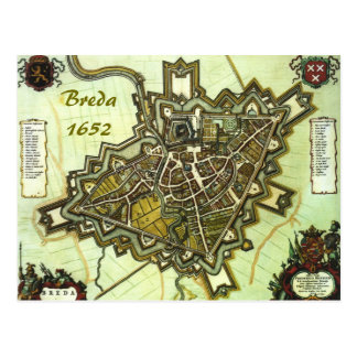 Map of the city of Breda,  from 1652 Postcard