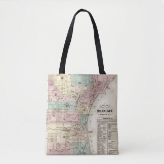 Map of the City of Milwaukee, Milwaukee Co Tote Bag