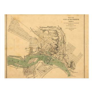 Map of the city of Richmond, Virginia (1858-1864) Postcard