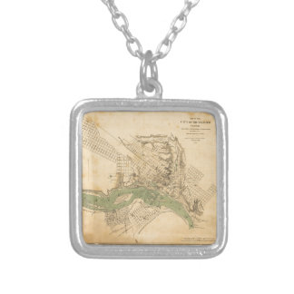 Map of the city of Richmond, Virginia (1858-1864) Silver Plated Necklace
