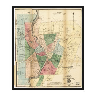 Map of the City of Rochester New York (1879) Stretched Canvas Print