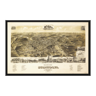 Map of the City of Staunton, Virginia (1891) Canvas Print