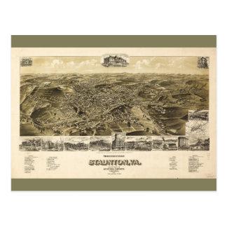Map of the City of Staunton, Virginia (1891) Postcard