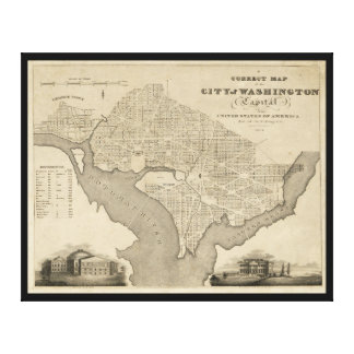 Map of the City of Washington D.C. (1820) Canvas Print