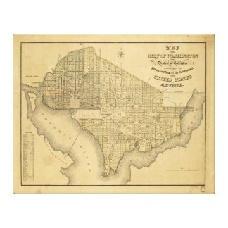 Map of the City of Washington D.C. (1839) Canvas Print