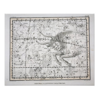 Map of The Constellations Plate XIV Poster