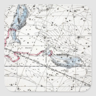 Map of The Constellations Plate XXII Square Sticker