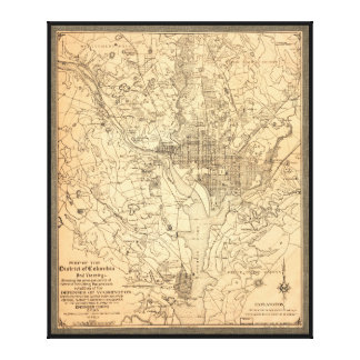 Map of the District of Columbia (1892) Gallery Wrapped Canvas