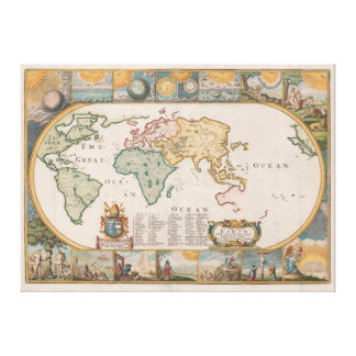 Map of the Earth by Joseph Moxon (1681) Stretched Canvas Prints