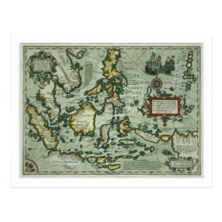 Map of the East Indies, pub. 1635 in Amsterdam (ha Postcard