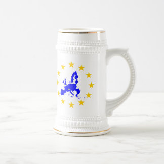 Map of the European union with star circle Beer Stein