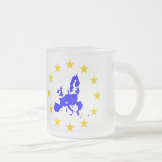 Map of the European union with star circle Frosted Glass Coffee Mug