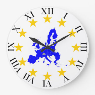 Map of the European union with star circle Large Clock