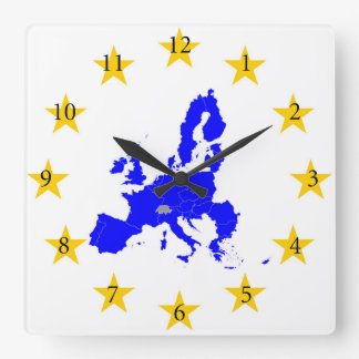 Map of the European union with star circle Square Wall Clock